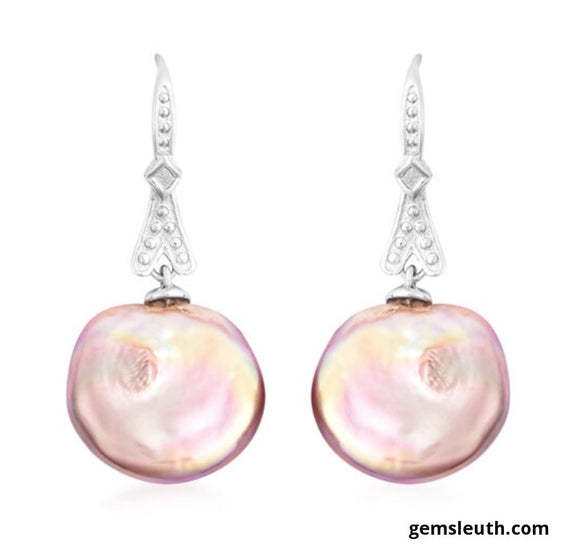 Baroque Pearl Dangly Hook Earrings in Rhodium Overlay Sterling Silver, 23.75 cts