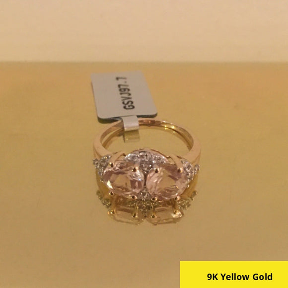 Limited Edition Size N, Serenite & White Zircon 9K Gold (2.2g) Ring ATGW 2.66cts