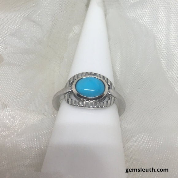 Arizona Sleeping Beauty Turquoise Ring (Size M) in Platinum Overlay Sterling Silver 1.00 Ct.