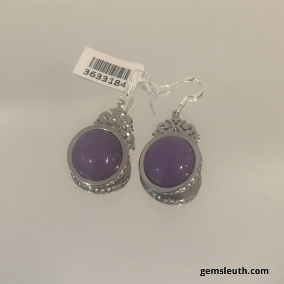 Lavender Purple Jade and Zircon Earrings in 925 Sterling Silver, 5.5 cms