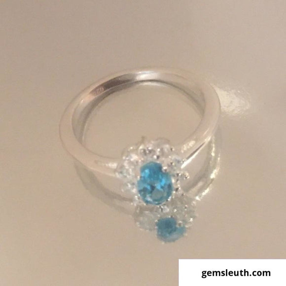 Paraiba Apatite and Natural Cambodian Zircon Halo Ring (Size O) in Sterling Silver