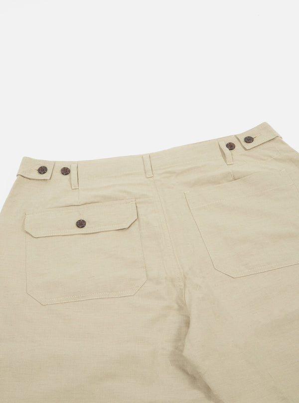 UNIVERSAL WORKS Loose Short In Sand Cotton Linen Suiting