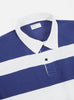 Universal Works Rugby Shirt In Ecru/Blue Heavy Jersey