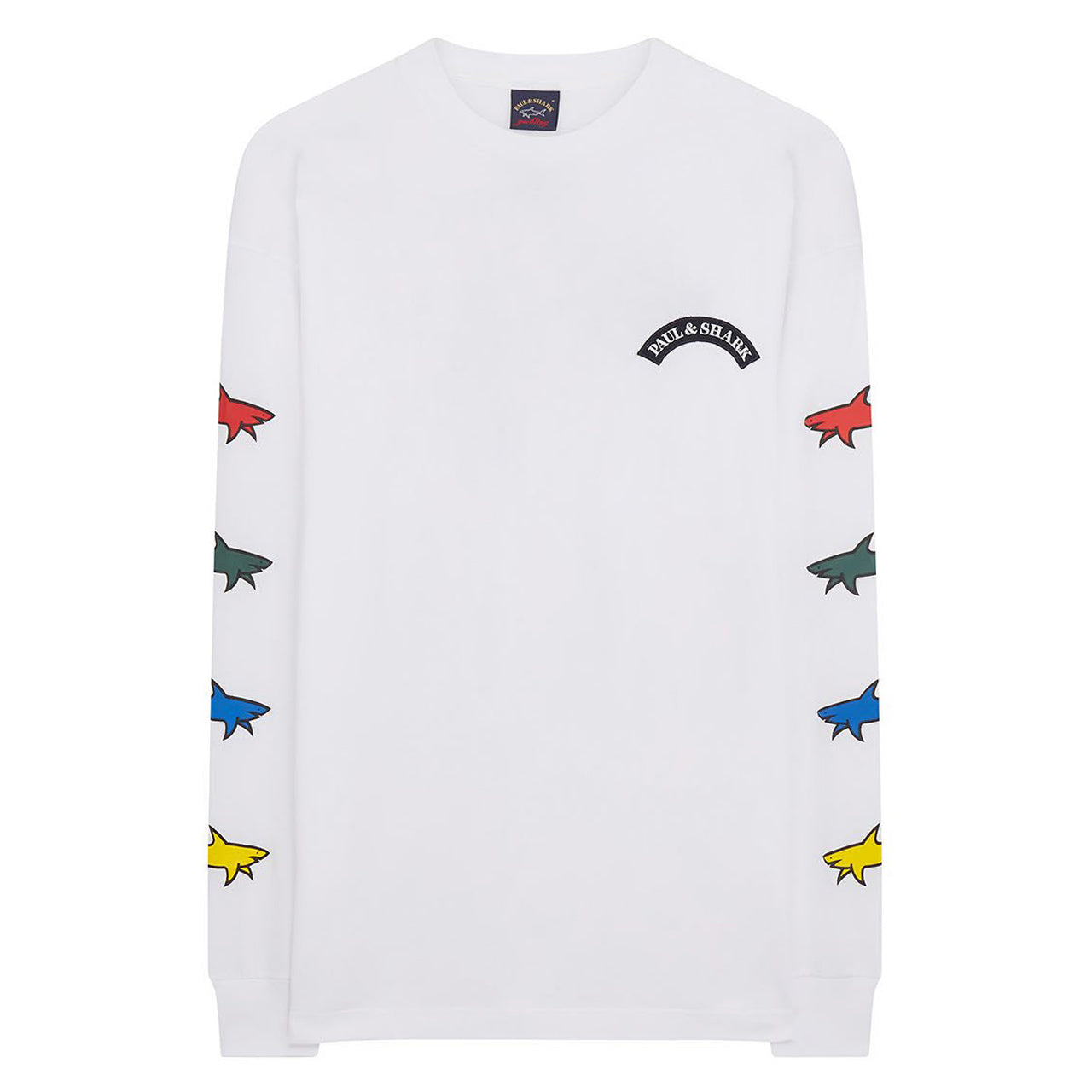 Paul & Shark SHARK PRINT LONG SLEEVE T-SHIRT IN WHITE