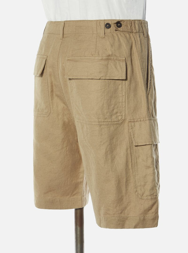UNIVERSAL WORKS MW Cargo Short In Sand Linen-Cot Suiting