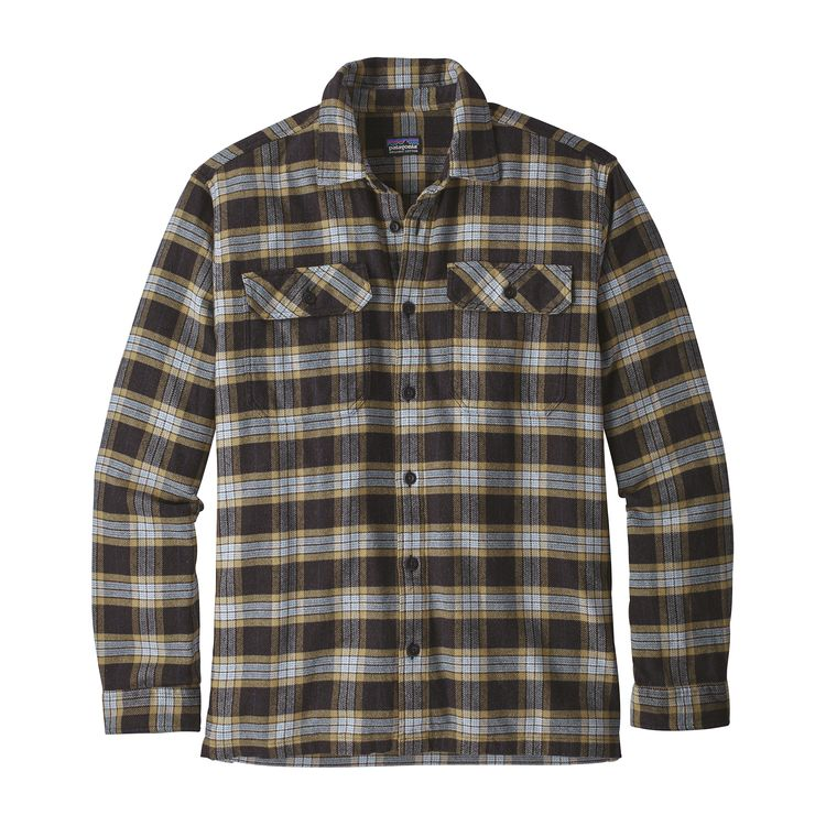 Patagonia Men's Long-Sleeved Fjord Flannel Shirt Migration Plaid Small: Black (MISB)