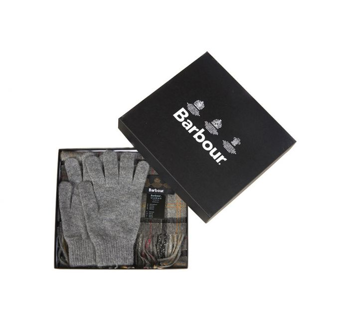 BARBOUR SCARF AND GLOVE GIFT SET Modern/Grey Wool
