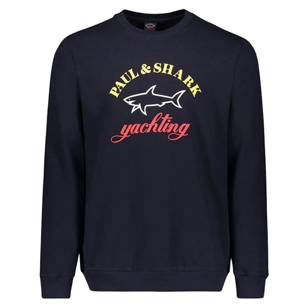 Paul & Shark Organic cotton sweatshirt with three colours printed logo Navy