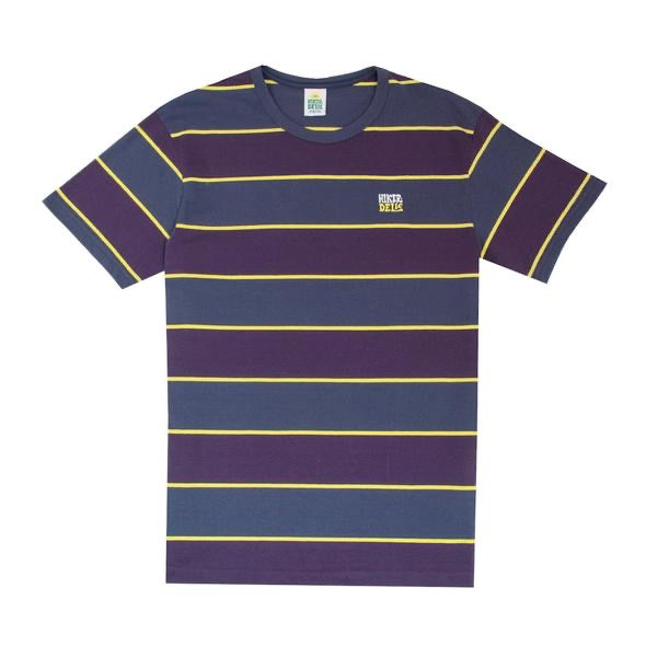 HIKERDELIC WIDE STRIPE SHORT SLEEVE T-SHIRT NAVY / PURPLE