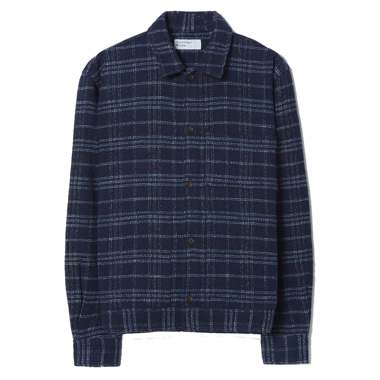 Universal Works Uniform Jacket In Indigo Check