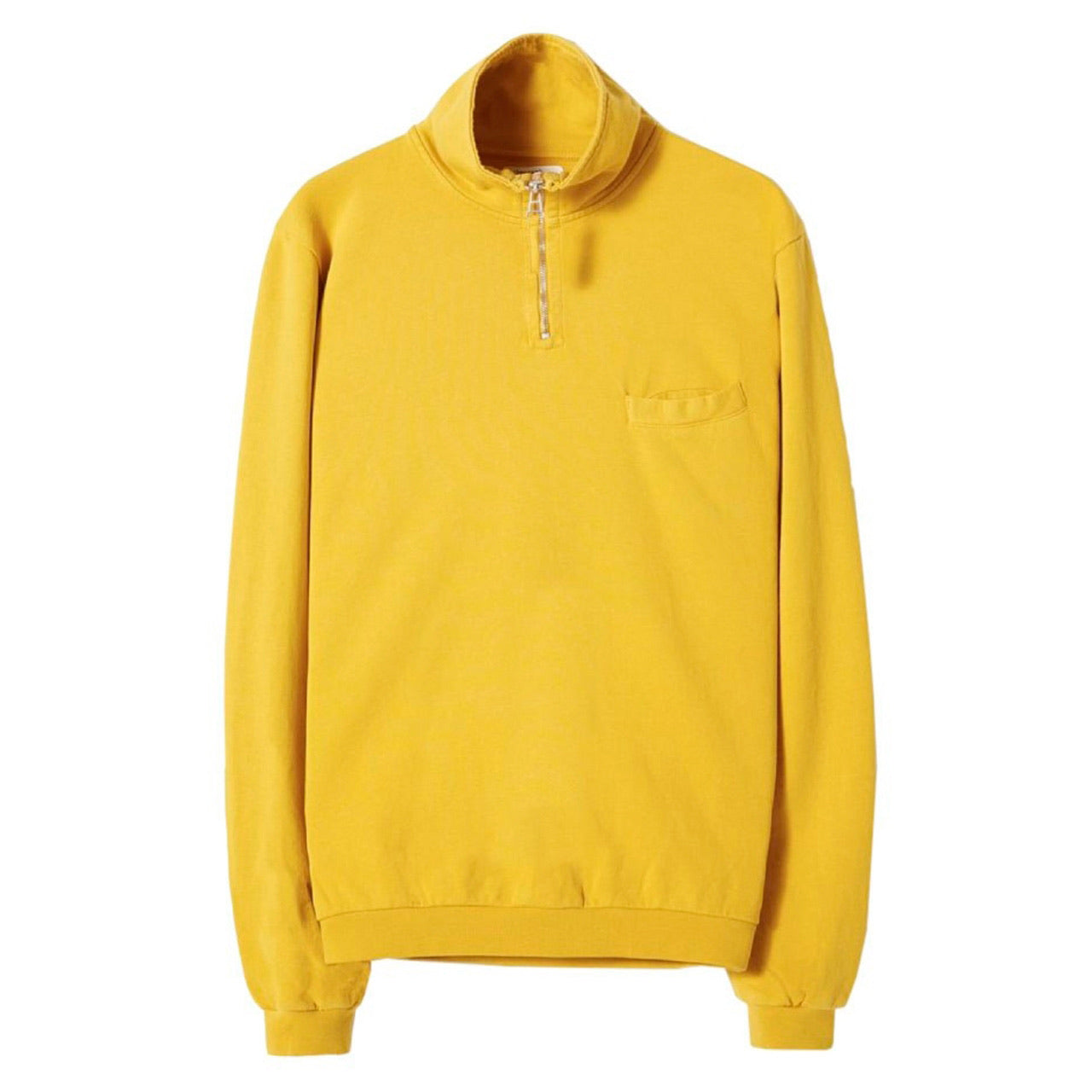 Universal Works DIAG LOOPBACK ZIP NECK SWEATSHIRT Sun
