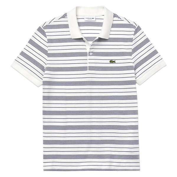 Lacoste Regular Fit Striped Cotton Piqué Polo Shirt  White / Navy Blue • QSF