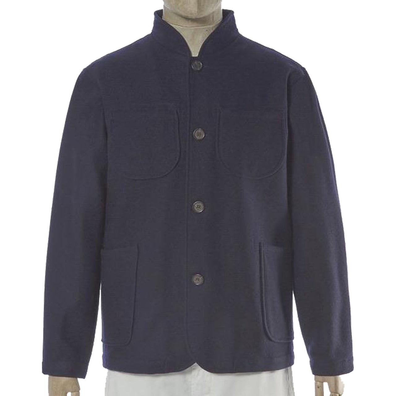 Universal Works Nehru Jacket In Navy Melton