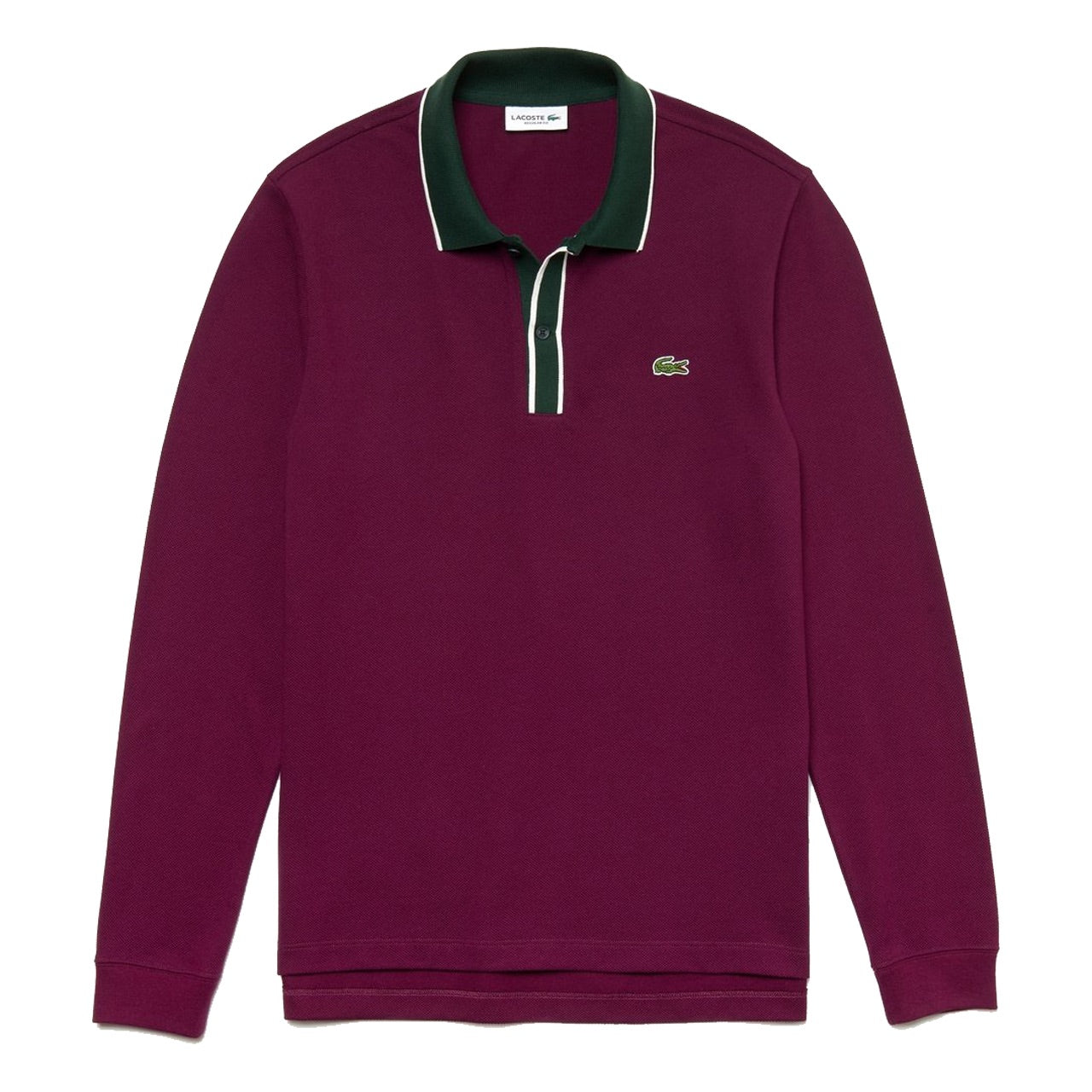 Lacoste Regular Fit Cotton Piqué Polo Shirt Bordeaux / White / Green • 3MT