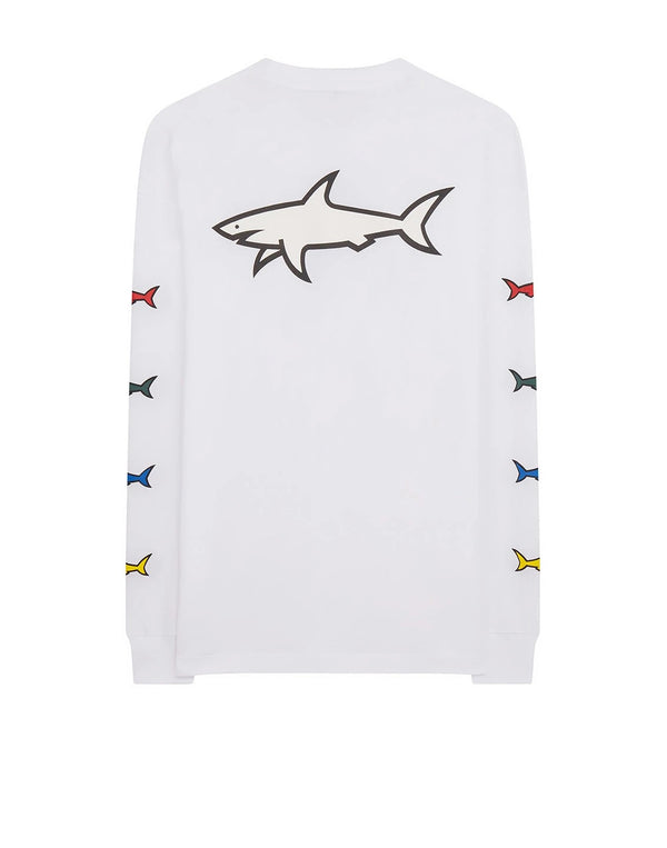 PAUL & SHARK Print Long Sleeve T-Shirt In White