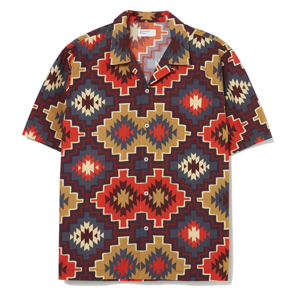 Universal Works Road Shirt In Brown Santa Fe Poplin