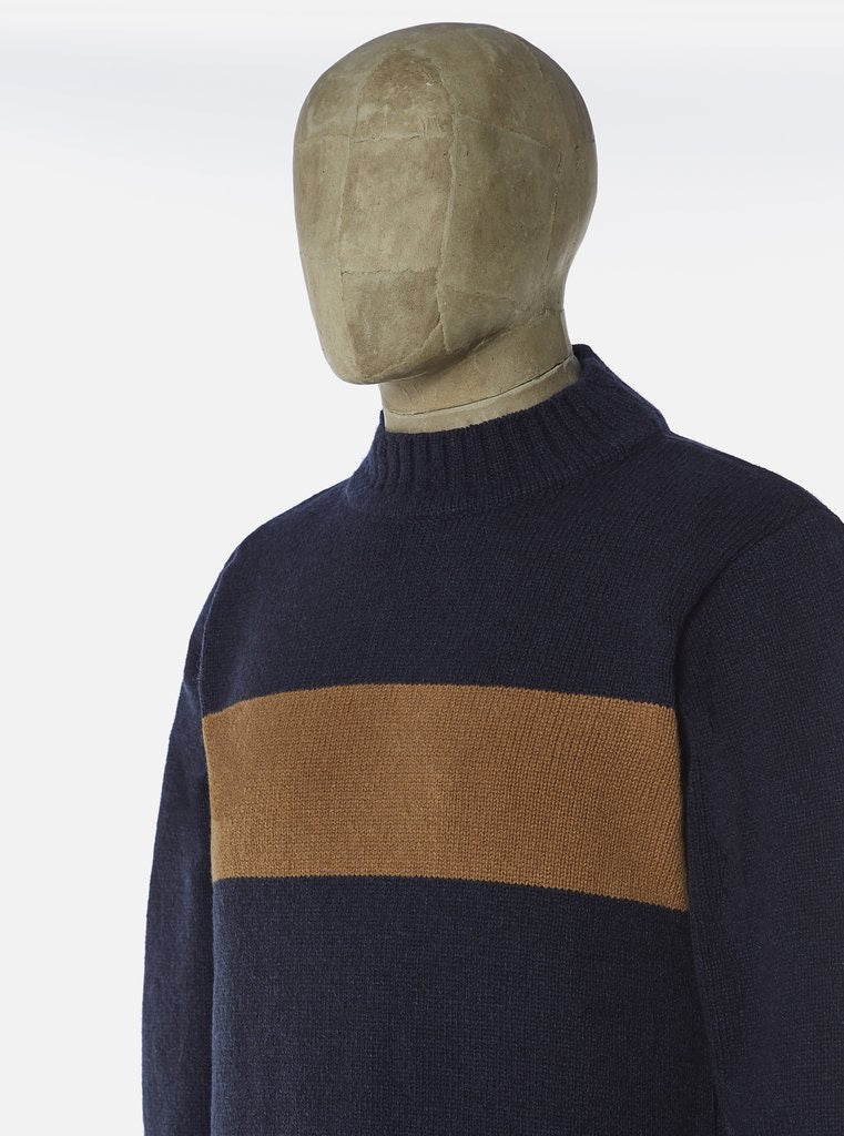 UNIVERSAL WORKS Chest Stripe Crew In Navy/Sand Soft Wool