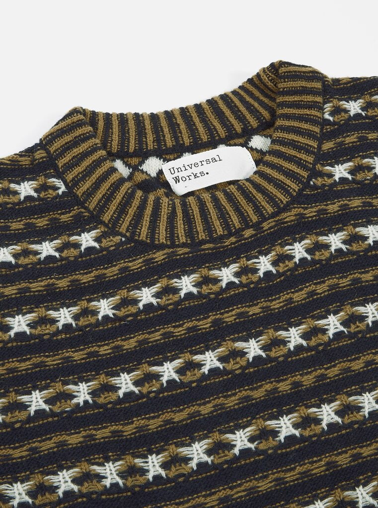 UNIVERSAL WORKS Batton Stripe Crew In Navy Jacquard
