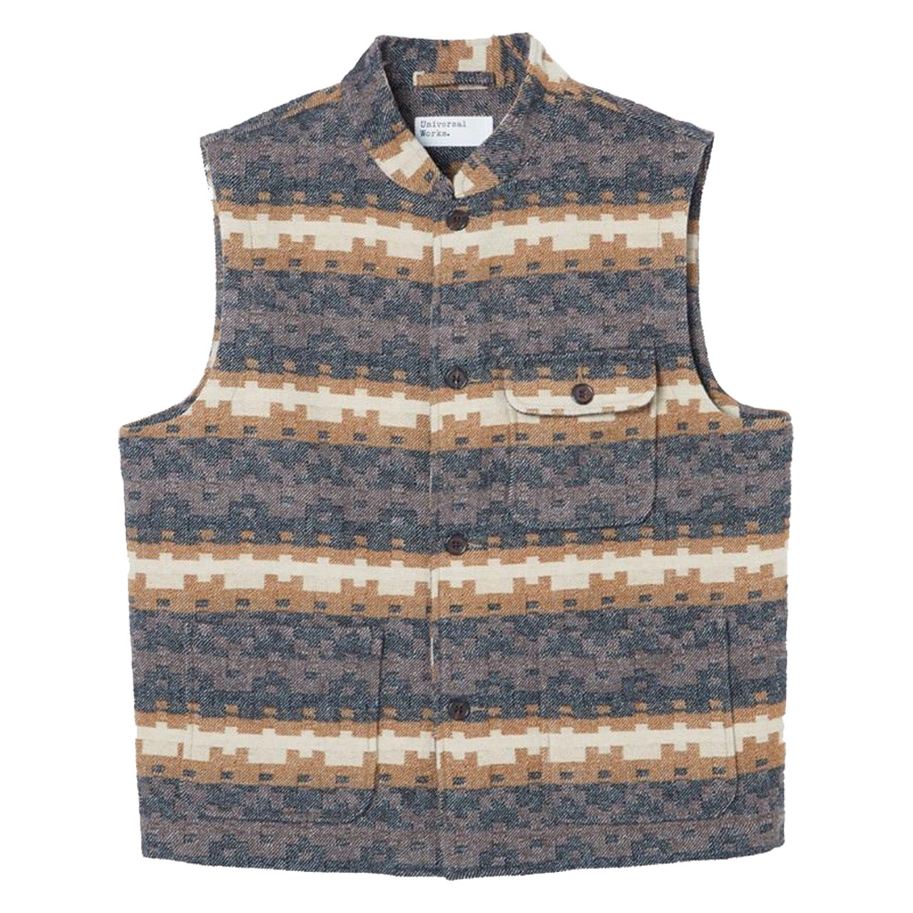 Universal Works Battleman Waistcoat Chocolate Black