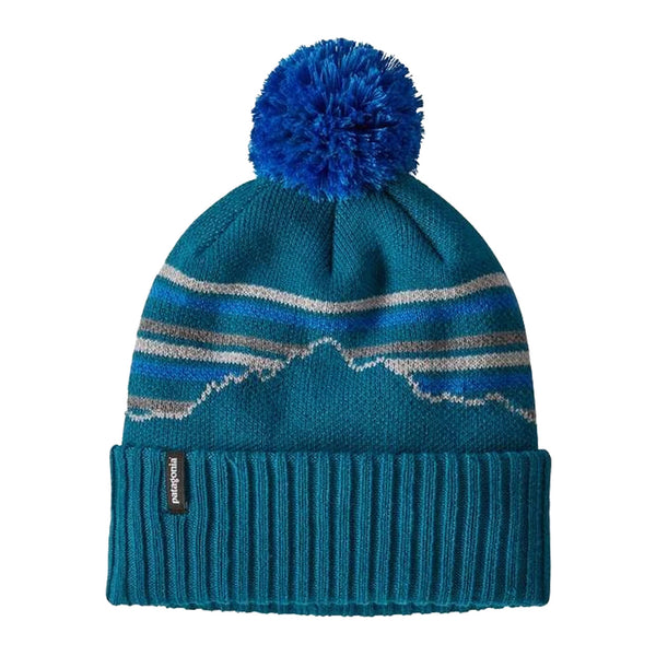 Patagonia Powder Town Beanie Fitz Roy Retro Stripe Knit: Crater Blue