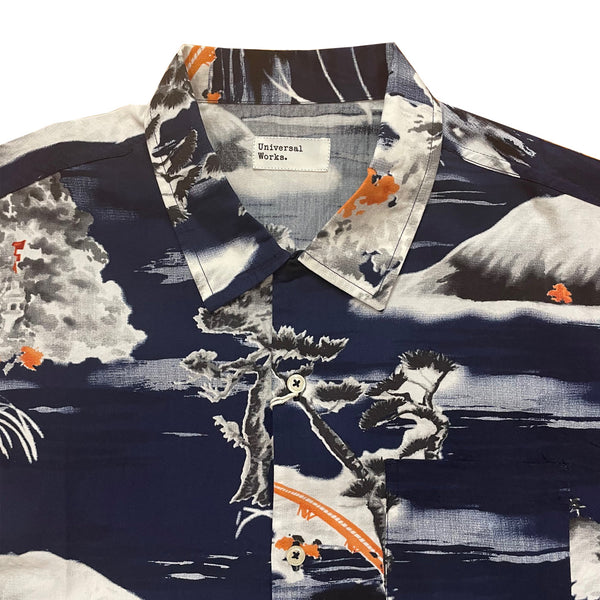 UNIVERSAL WORKS Road Shirt In Navy Fuji Summer Print
