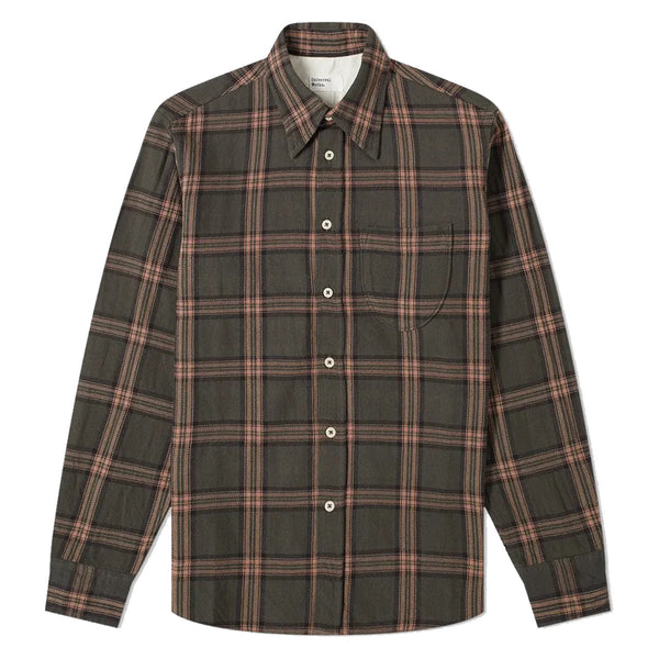 Universal Works Brook Shirt In Taupe Rebel Check