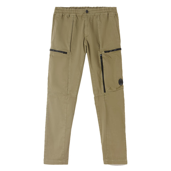 C.P. COMPANY Garment Dyed Stretch Sateen Lens Pocket Track Pants Green