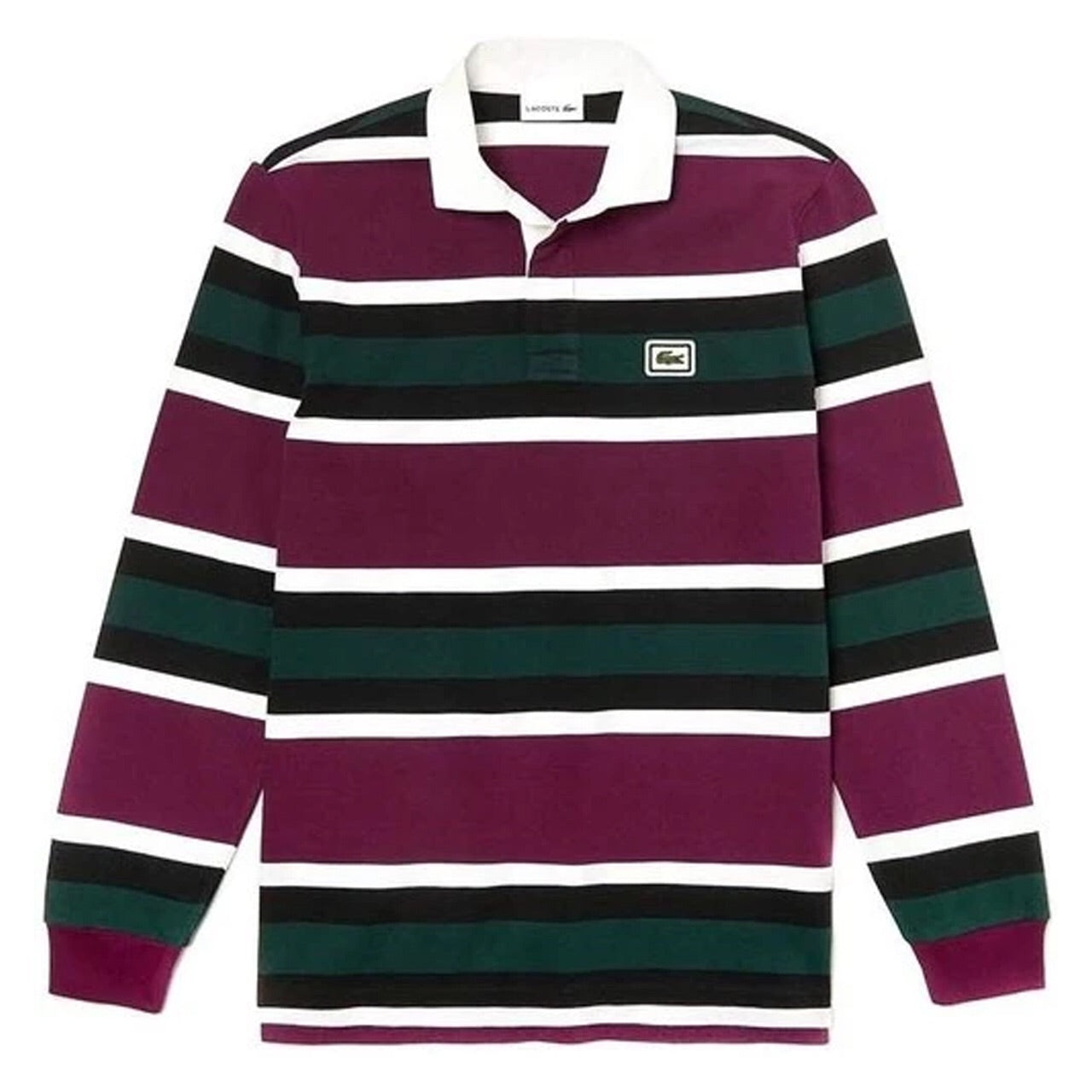 Lacoste Striped Rugby Polo Shirt Bordeaux KH8633