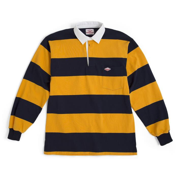 Battenwear Pocket Rugby Shirt, Navy/Gold 6oz Jersey