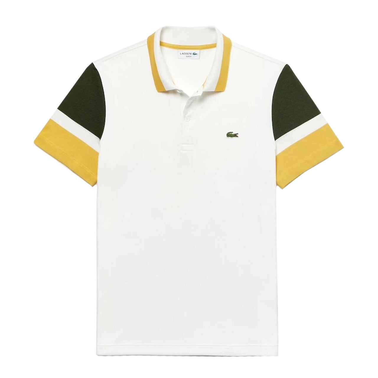 Lacoste Slim Fit Colourblock Stretch Pima Piqué Polo Shirt White / Khaki Green / Yellow • 7RW