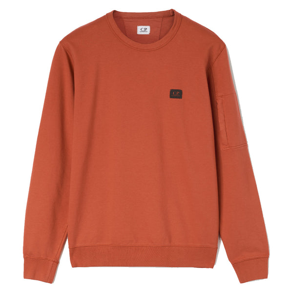 C.P. COMPANY Light Fleece Garment Dyed Orange Sweatshirt