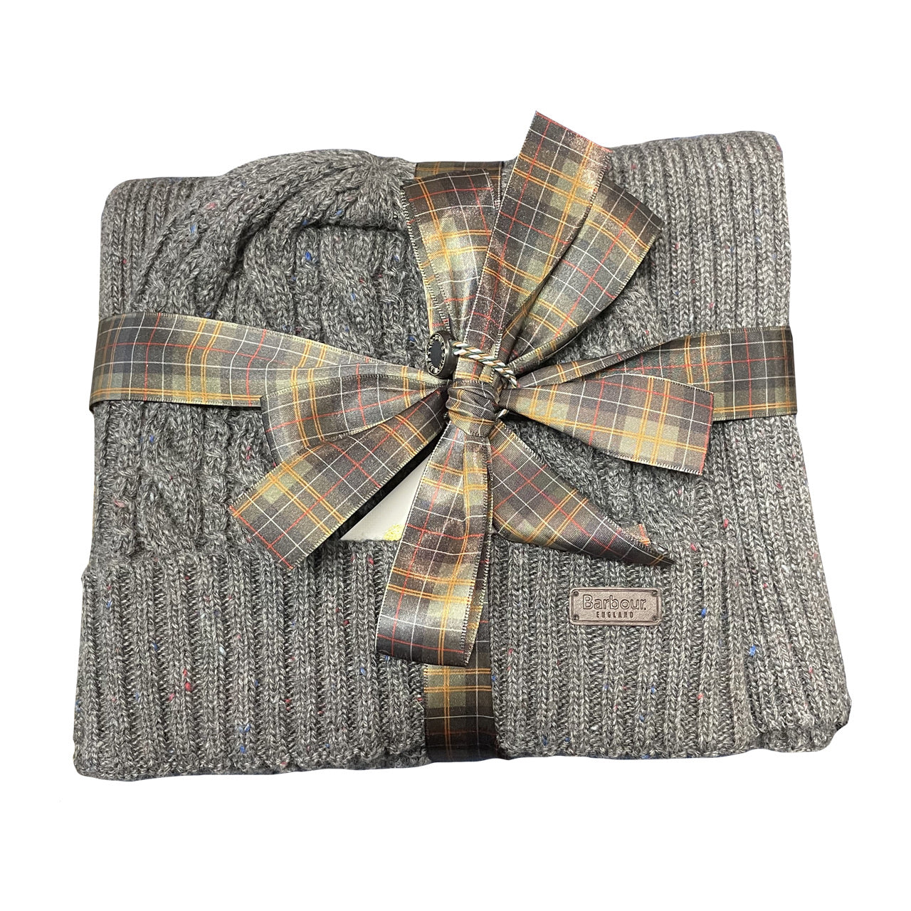 BARBOUR Cromer Beanie & Scarf GIFT SET Charcoal Grey