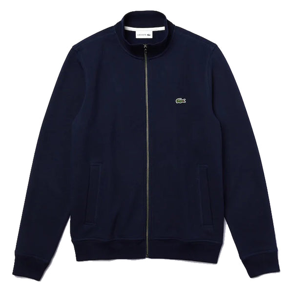 LACOSTE Zippered Stand-Up Collar Piqué Fleece Navy Jacket