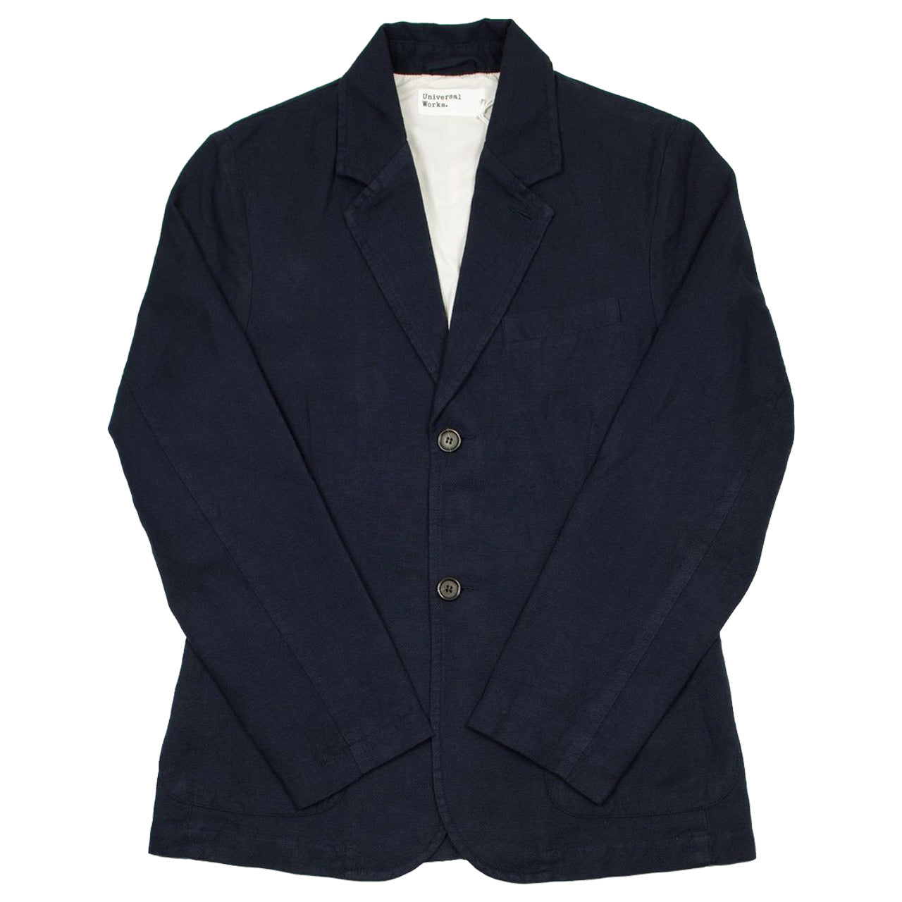 Universal Works Two Button Jacket Cotton Linen Panama Navy