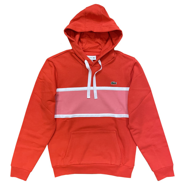LACOSTE Piqué Panel Bimaterial Hooded Sweatshirt Rouge