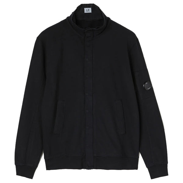 C.P. COMPANY Light Fleece Garment Dyed Stand Collar Sweatshirt Black