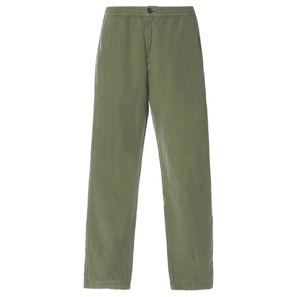 UNIVERSAL WORKS MW Deck Pant In Olive O/D Linen Cotton