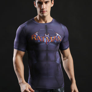 Black Friday Special ! Superman & Batman Fitness T-Shirt - Navy Blue / L