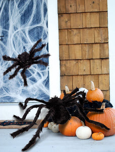 Big Black Plush Spiders for Halloween Decoration - Multiple Sizes