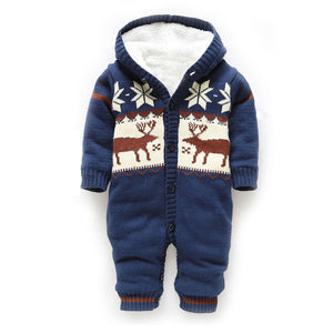 Knitted&hooded Baby Rompers With Christmas Deer Blue / 0-3 Months