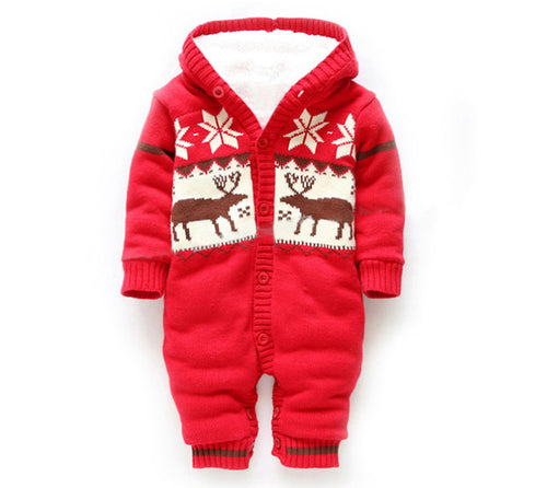 Knitted&hooded Baby Rompers With Christmas Deer Red / 0-3 Months