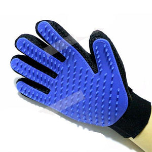 Pet Brush Glove For Dogs & Cats Blue / Right