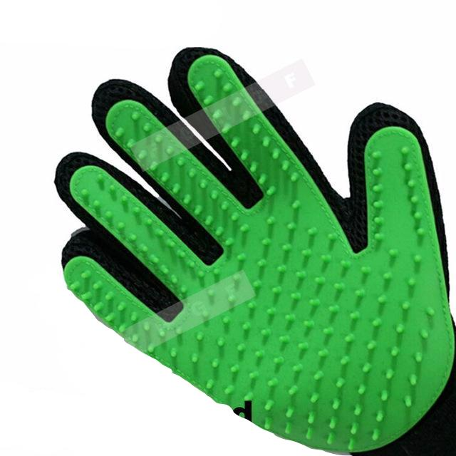 Pet Brush Glove For Dogs & Cats Green / Right