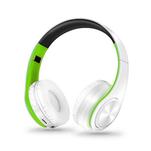 Foldable Bluetooth Headphone With Microphone Green&white