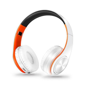 Foldable Bluetooth Headphone With Microphone Orange&white