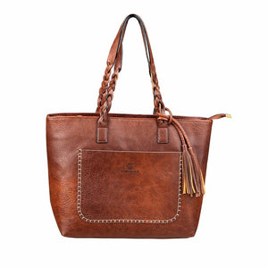 Luxury Leather Handbag Dark Brown