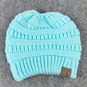 Soft Knit Beanie Tail Light Blue