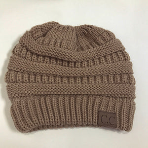 Soft Knit Beanie Tail Khaki Brown