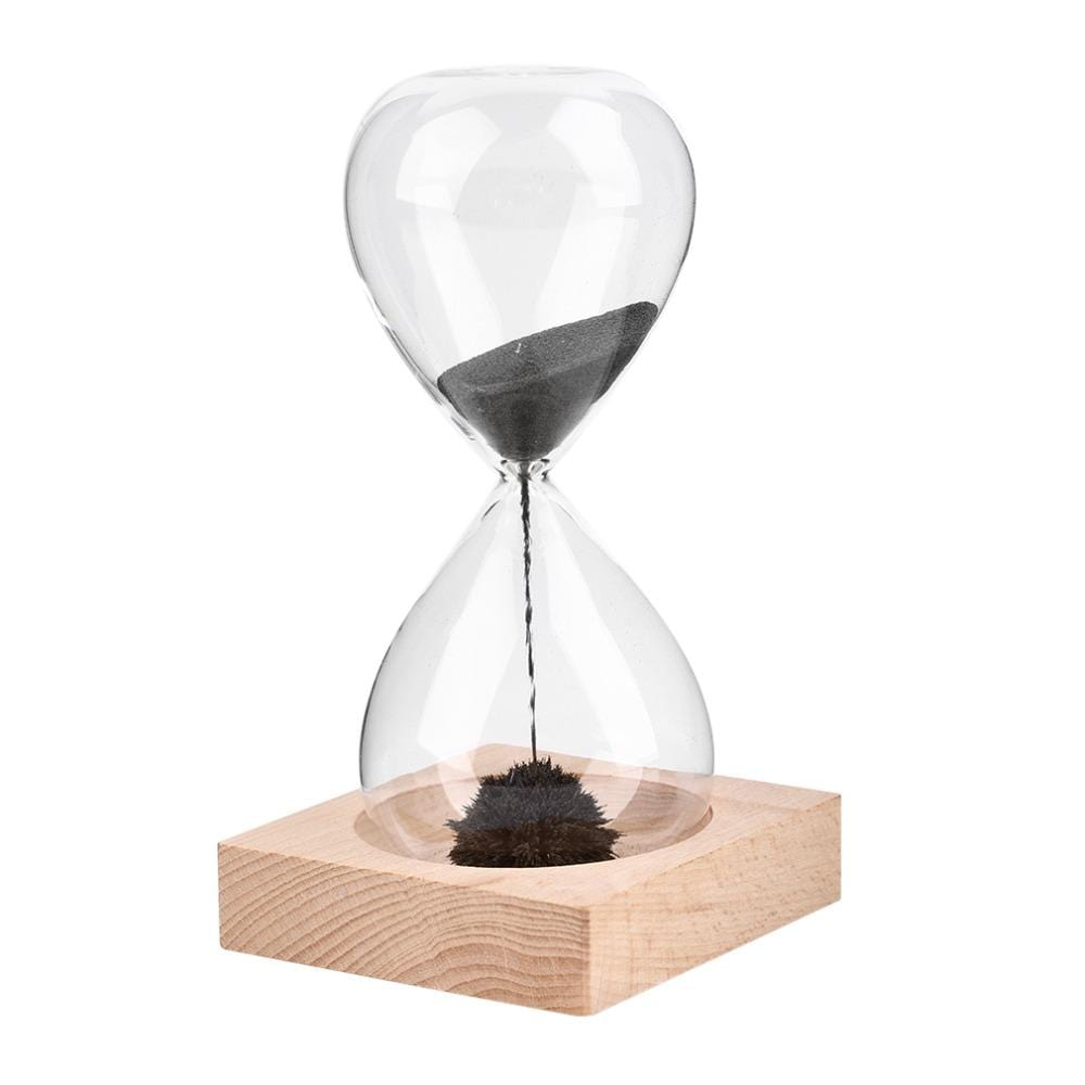 Magnetic Sand Timer Hourglass With Beautiful Wooden Base