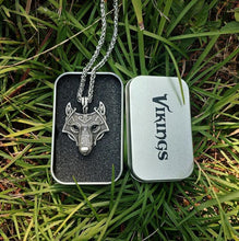 Vikings - Norse Wolf Head Pendant Necklace Silver